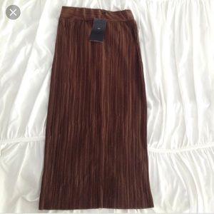 NWT ZARA polyester bronze midi skirt size L